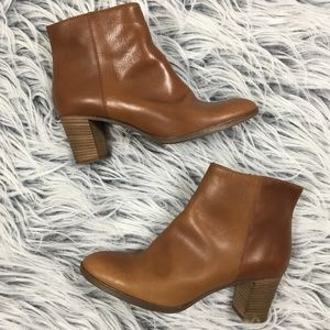 J. Crew Leather Ankle Boots Booties Brown 9.5